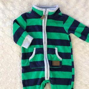 Carter's Fleece Romper Green Blue Stripes 3M